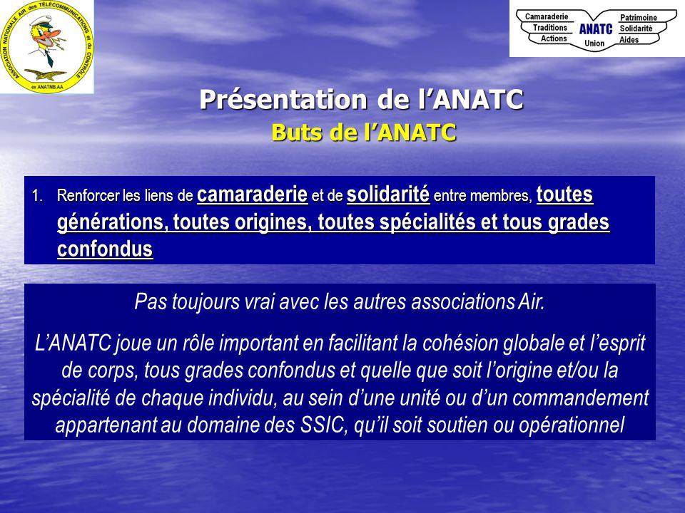 Buts de l'ANATC 1.Renforcer les liens de camaraderie et de solidarité entre membres, toutes générations, toutes origines, toutes spécialités et tous g