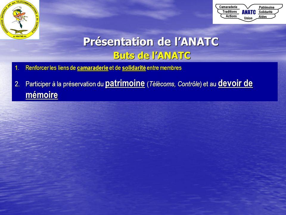 Présentation de l'ANATC Buts de l'ANATC 1.Renforcer les liens de camaraderie et de solidarité entre membres 2.Participer à la préservation du patrimoine ( Télécoms, Contrôle ) et au devoir de mémoire