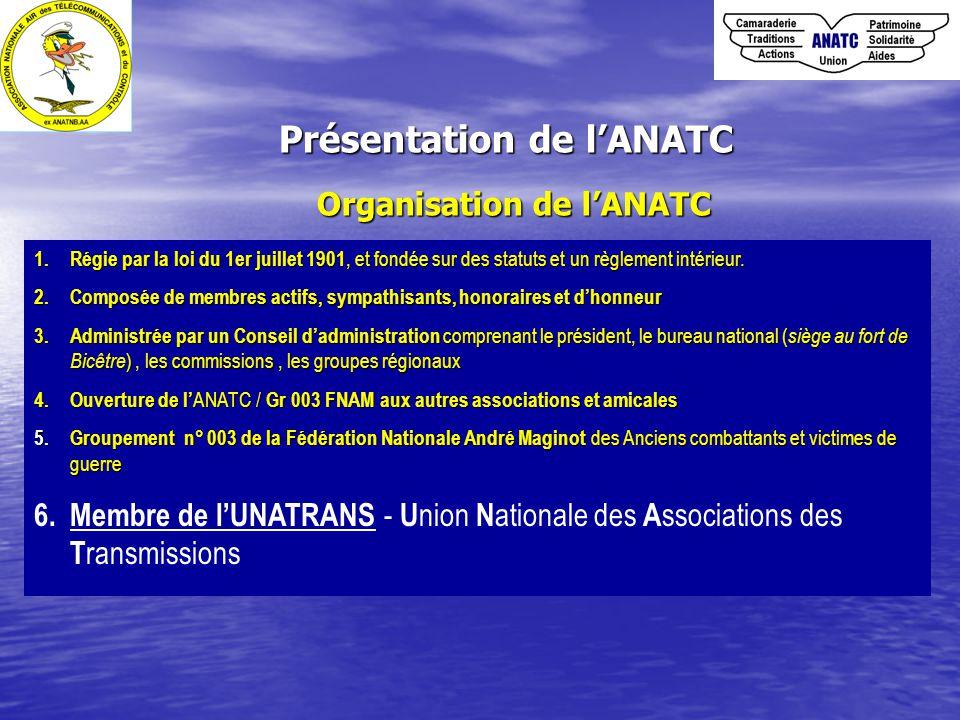 Présentation de l'ANATC Organisation de l'ANATC 1.Régie par la loi du 1er juillet 1901, et fondée sur des statuts et un règlement intérieur.