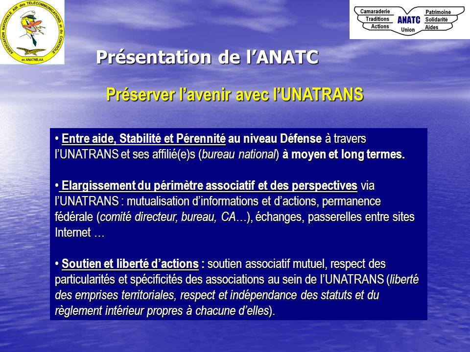 Présentation de l'ANATC Entre aide et Pérennité au niveau Défense à travers l'UNATRANS et ses affilié(e)s ( bureau national ) à moyen et long termes.
