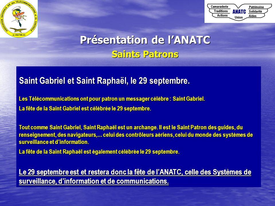 Présentation de l'ANATC Saints Patrons Saint Gabriel et Saint Raphaël, le 29 septembre. Les Télécommunications ont pour patron un messager célèbre : S