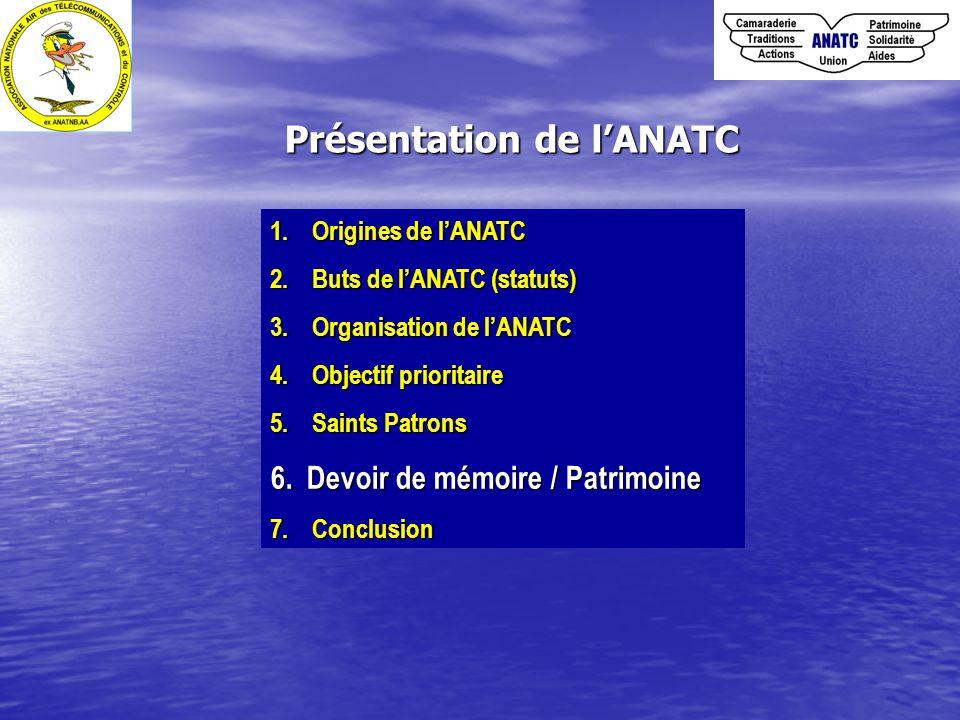 1. Origines de l'ANATC 2. Buts de l'ANATC (statuts) 3. Organisation de l'ANATC 4. Objectif prioritaire 5. Saints Patrons 6.Devoir de mémoire / Patrimo