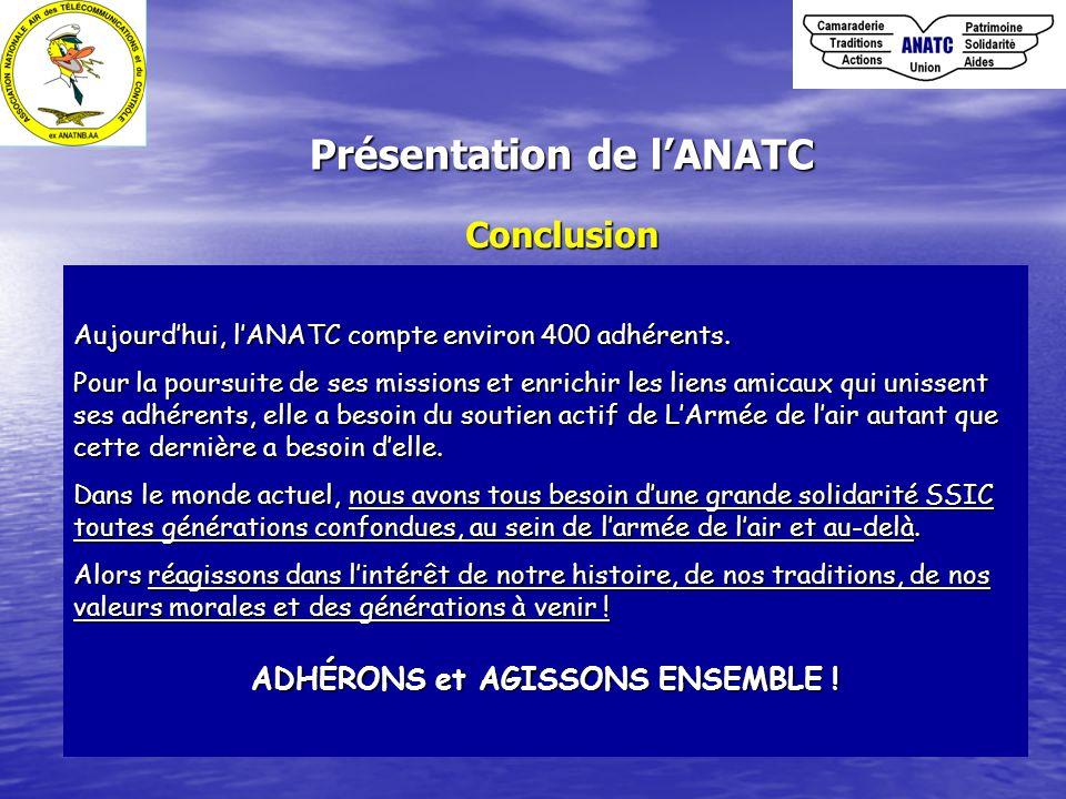 Conclusion Aujourd'hui, l'ANATC compte environ 400 adhérents. Pour la poursuite de ses missions et enrichir les liens amicaux qui unissent ses adhéren