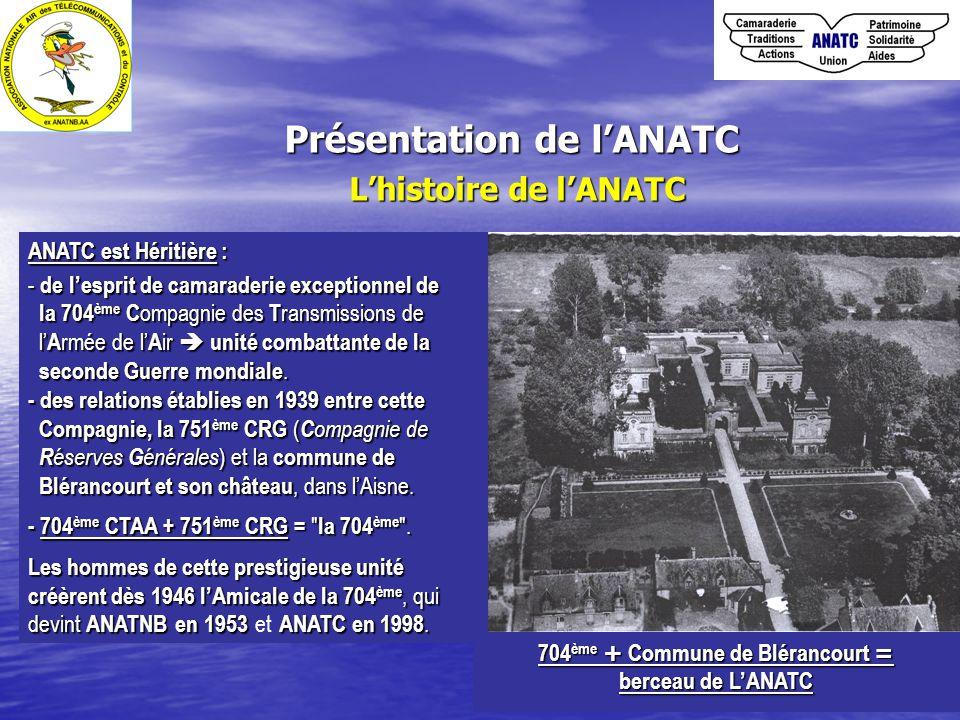 Présentation de l'ANATC L'histoire de l'ANATC ANATC est Héritière : - de l'esprit de camaraderie exceptionnel de la 704 ème C ompagnie des T ransmissions de la 704 ème C ompagnie des T ransmissions de l' A rmée de l' A ir  unité combattante de la l' A rmée de l' A ir  unité combattante de la seconde Guerre mondiale.