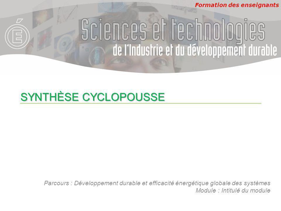 Formation des enseignants Parcours : Développement durable et efficacité énergétique globale des systèmes Module : Intitulé du module SYNTHÈSE CYCLOPOUSSE