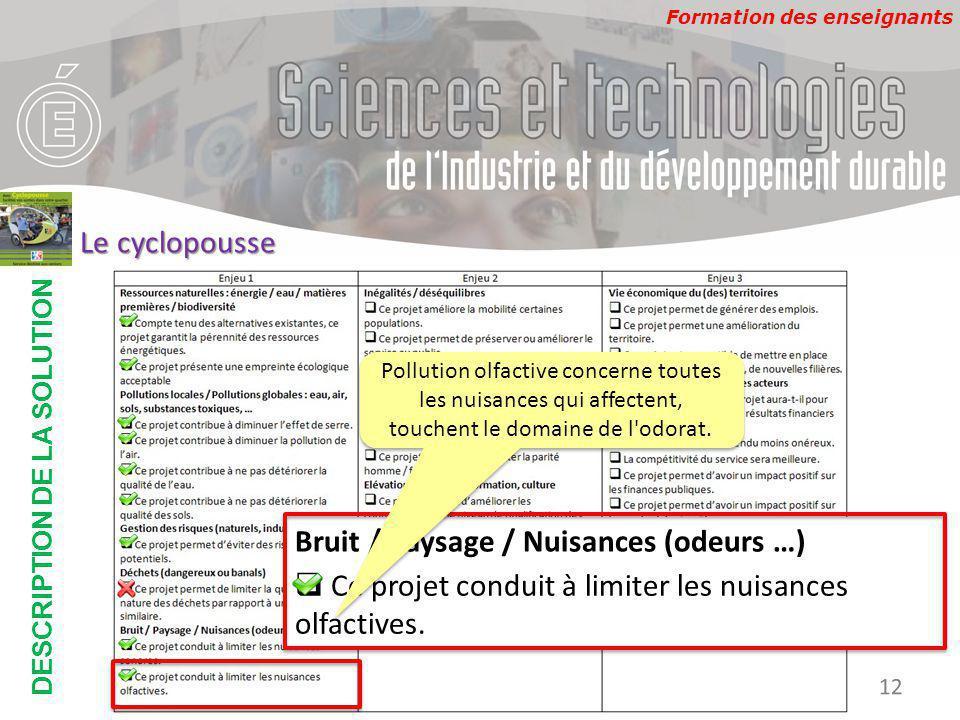Formation des enseignants DESCRIPTION DE LA SOLUTION Développement Durable 12 Le cyclopousse Bruit / Paysage / Nuisances (odeurs …)  Ce projet conduit à limiter les nuisances olfactives.