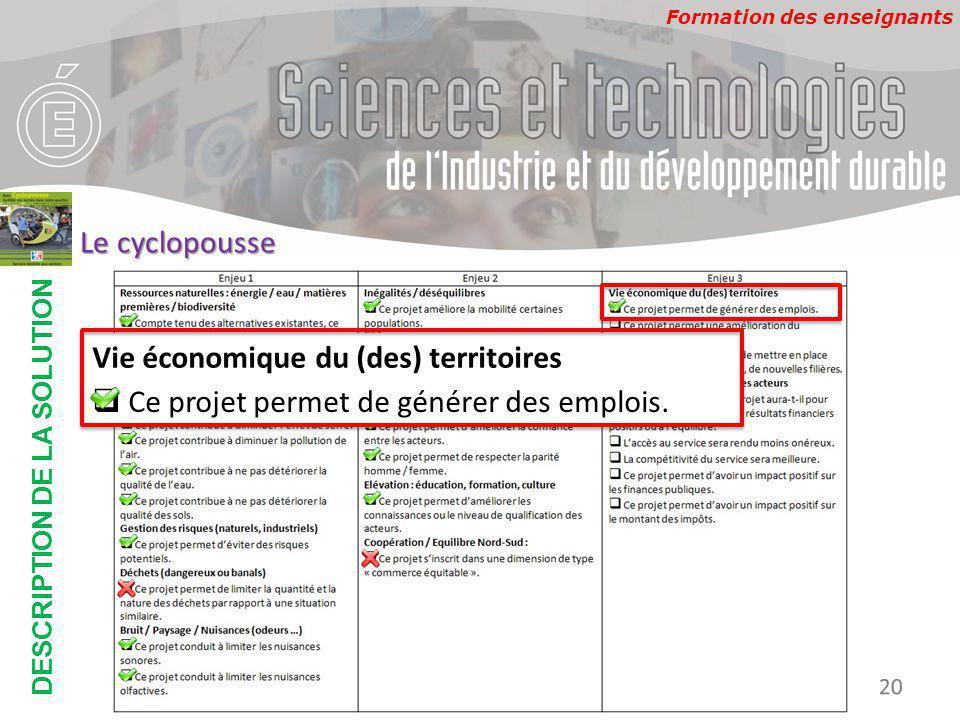 Formation des enseignants DESCRIPTION DE LA SOLUTION Développement Durable 20 Le cyclopousse Vie économique du (des) territoires  Ce projet permet de générer des emplois.