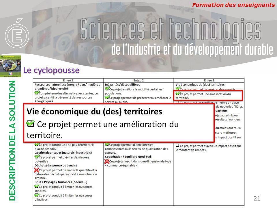 Formation des enseignants DESCRIPTION DE LA SOLUTION Développement Durable 21 Le cyclopousse Vie économique du (des) territoires  Ce projet permet une amélioration du territoire.