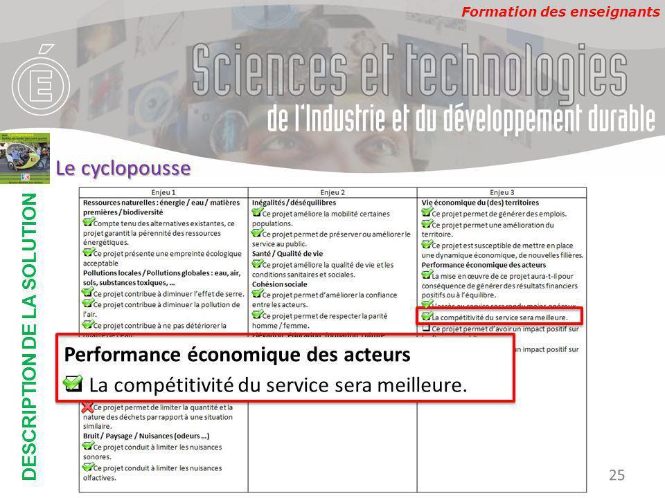 Formation des enseignants DESCRIPTION DE LA SOLUTION Développement Durable 25 Le cyclopousse Performance économique des acteurs  La compétitivité du service sera meilleure.