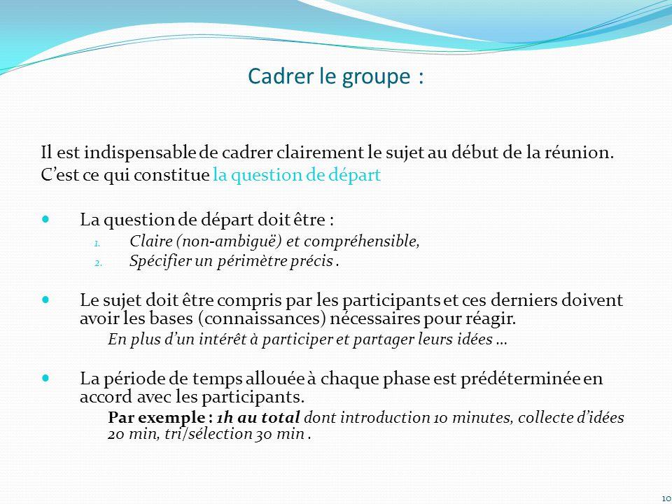 Cadrer le groupe : Il est indispensable de cadrer clairement le sujet au début de la réunion. C'est ce qui constitue la question de départ La question
