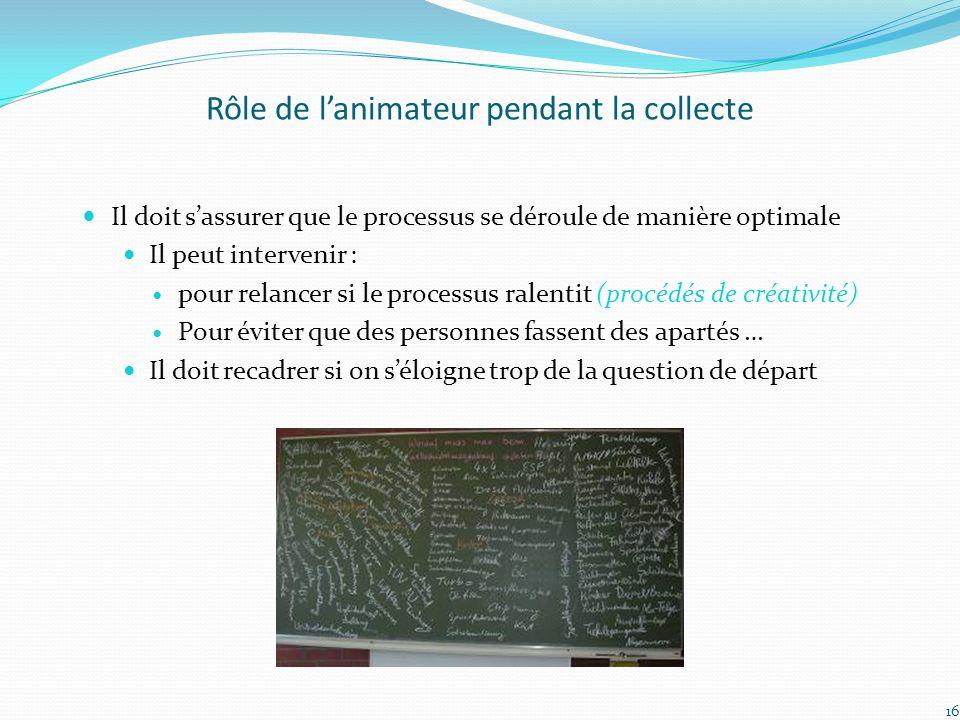Rôle de l'animateur pendant la collecte Il doit s'assurer que le processus se déroule de manière optimale Il peut intervenir : pour relancer si le pro