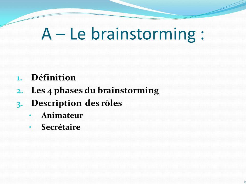 A – Le brainstorming : 1. Définition 2. Les 4 phases du brainstorming 3. Description des rôles Animateur Secrétaire 2