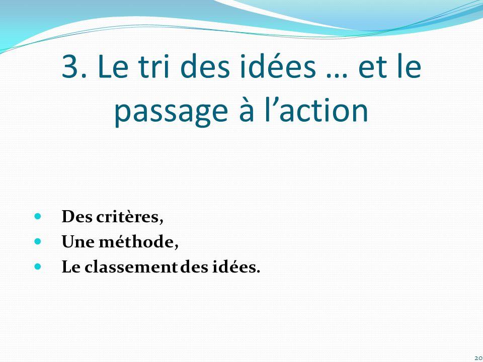 3. Le tri des idées … et le passage à l'action Des critères, Une méthode, Le classement des idées. 20