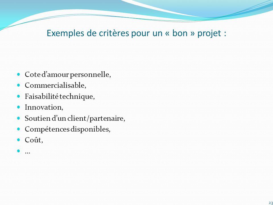 Exemples de critères pour un « bon » projet : Cote d'amour personnelle, Commercialisable, Faisabilité technique, Innovation, Soutien d'un client/parte