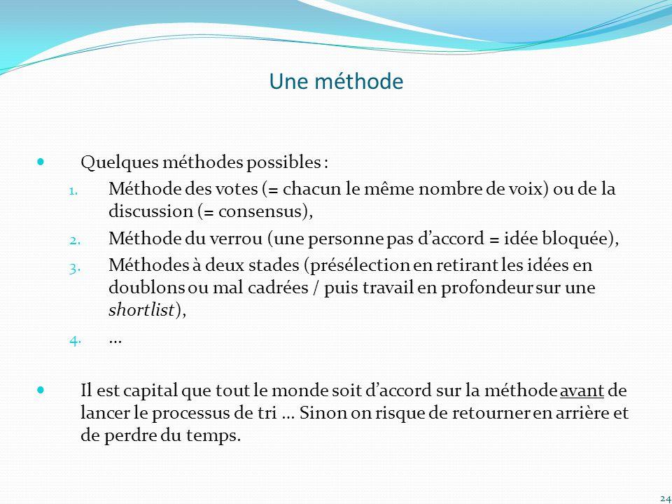 Une méthode Quelques méthodes possibles : 1. Méthode des votes (= chacun le même nombre de voix) ou de la discussion (= consensus), 2. Méthode du verr