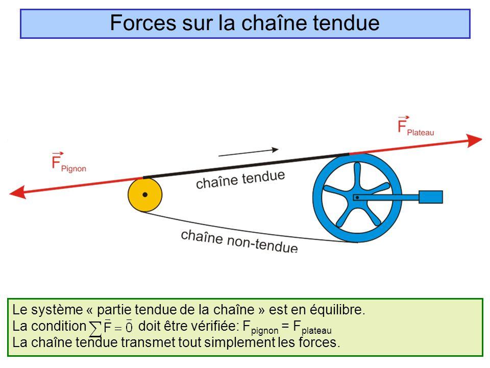 Le système « partie tendue de la chaîne » est en équilibre. La condition doit être vérifiée: F pignon = F plateau La chaîne tendue transmet tout simpl