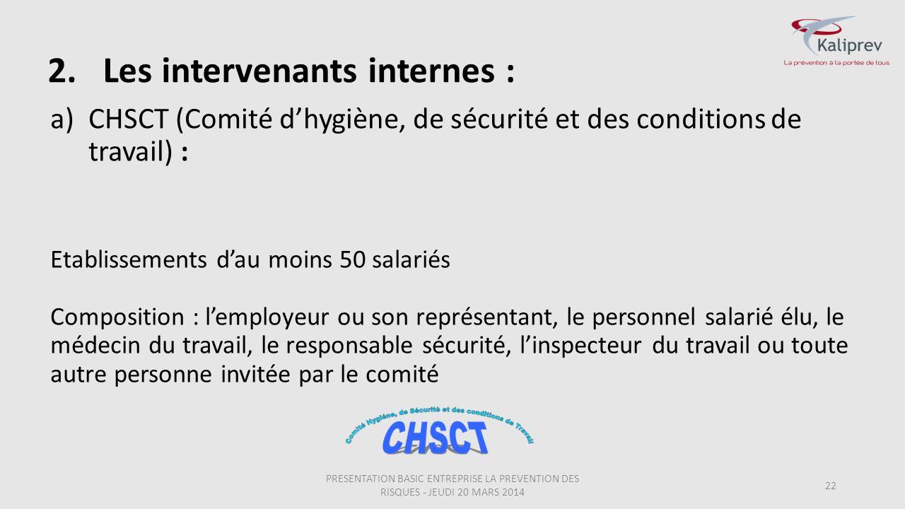 2.Les intervenants internes : 22 a)CHSCT (Comité d'hygiène, de sécurité et des conditions de travail) : Etablissements d'au moins 50 salariés Composit