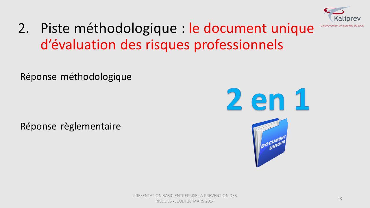 28 2.Piste méthodologique : le document unique d'évaluation des risques professionnels Réponse méthodologique Réponse règlementaire PRESENTATION BASIC