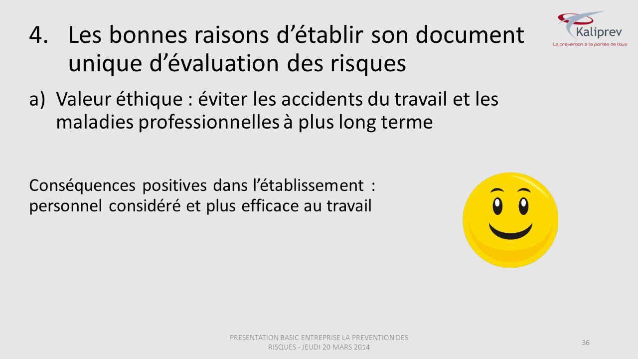 4.Les bonnes raisons d'établir son document unique d'évaluation des risques 36 a)Valeur éthique : éviter les accidents du travail et les maladies prof