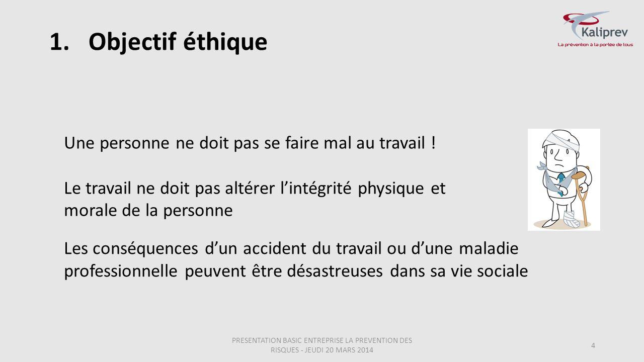 1.Objectif éthique PRESENTATION BASIC ENTREPRISE LA PREVENTION DES RISQUES - JEUDI 20 MARS 2014 4 Les conséquences d'un accident du travail ou d'une m