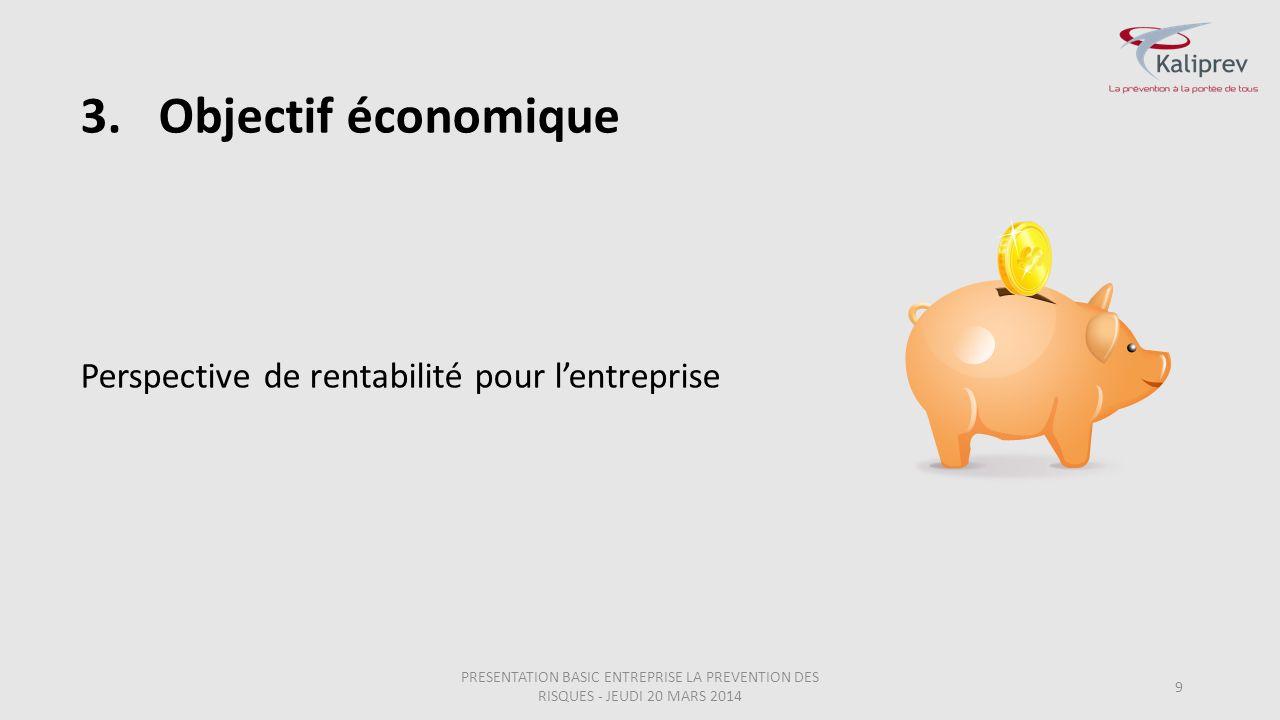 3.Objectif économique 9 Perspective de rentabilité pour l'entreprise PRESENTATION BASIC ENTREPRISE LA PREVENTION DES RISQUES - JEUDI 20 MARS 2014