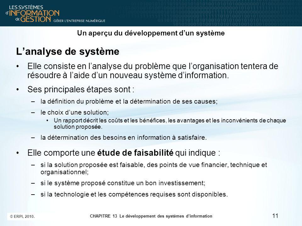 CHAPITRE 13 Le développement des systèmes d'information © ERPI, 2010. 11 Un aperçu du développement d'un système L'analyse de système Elle consiste en