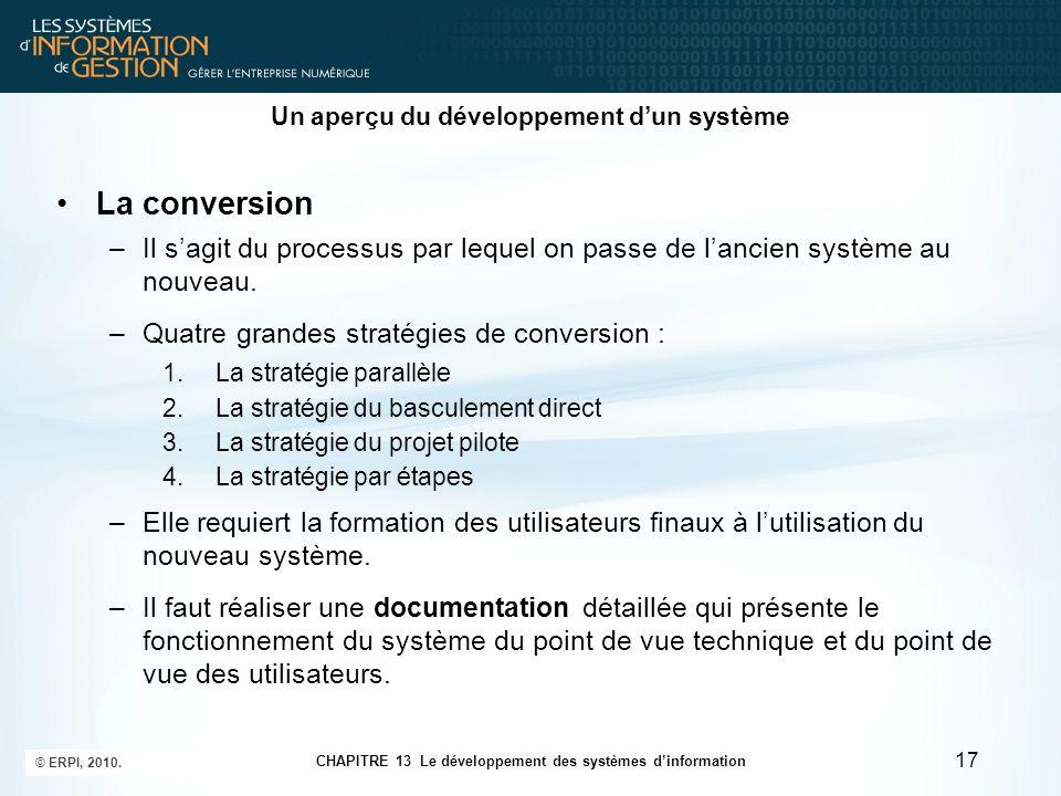 CHAPITRE 13 Le développement des systèmes d'information © ERPI, 2010. 17 Un aperçu du développement d'un système La conversion –Il s'agit du processus