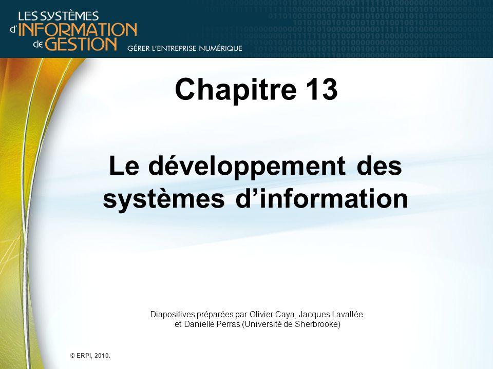 Chapitre 13 Le développement des systèmes d'information Diapositives préparées par Olivier Caya, Jacques Lavallée et Danielle Perras (Université de Sh