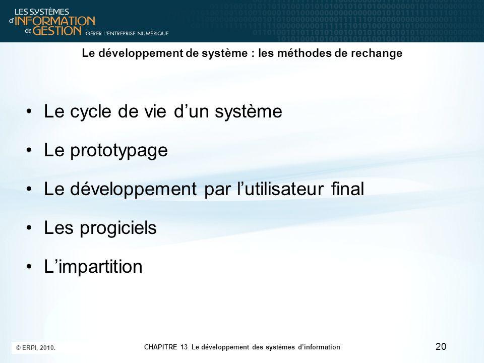 CHAPITRE 13 Le développement des systèmes d'information © ERPI, 2010. 20 Le développement de système : les méthodes de rechange Le cycle de vie d'un s