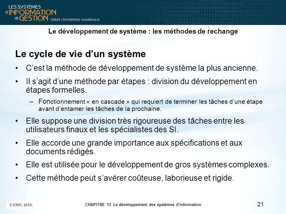 CHAPITRE 13 Le développement des systèmes d'information © ERPI, 2010. 21 Le développement de système : les méthodes de rechange Le cycle de vie d'un s