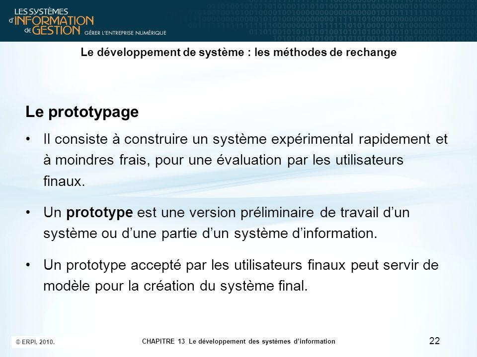 CHAPITRE 13 Le développement des systèmes d'information © ERPI, 2010. 22 Le développement de système : les méthodes de rechange Le prototypage Il cons