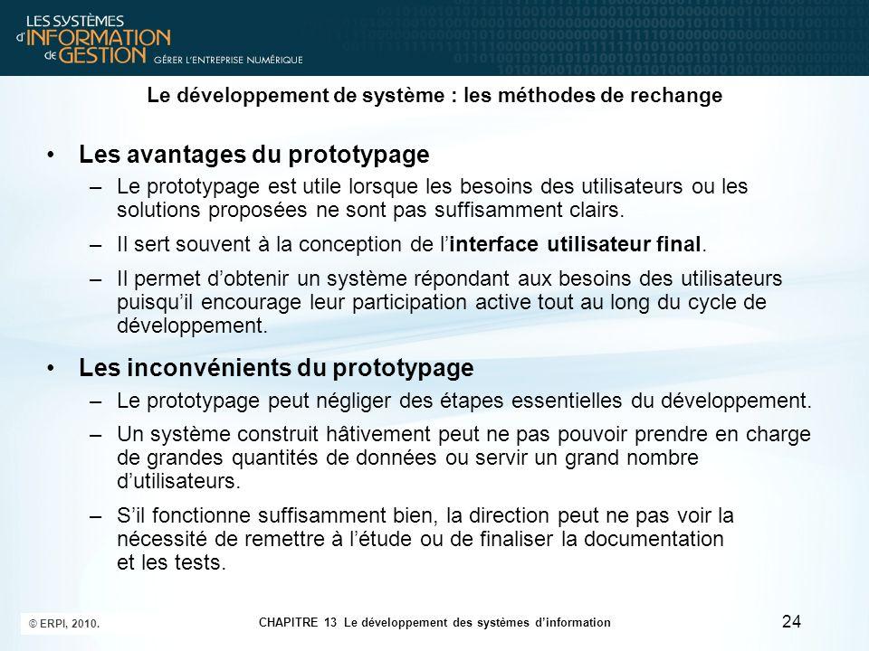 CHAPITRE 13 Le développement des systèmes d'information © ERPI, 2010. 24 Le développement de système : les méthodes de rechange Les avantages du proto