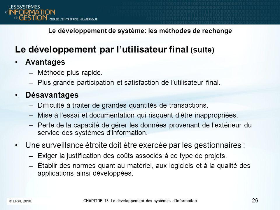 CHAPITRE 13 Le développement des systèmes d'information © ERPI, 2010. 26 Le développement de système: les méthodes de rechange Le développement par l'