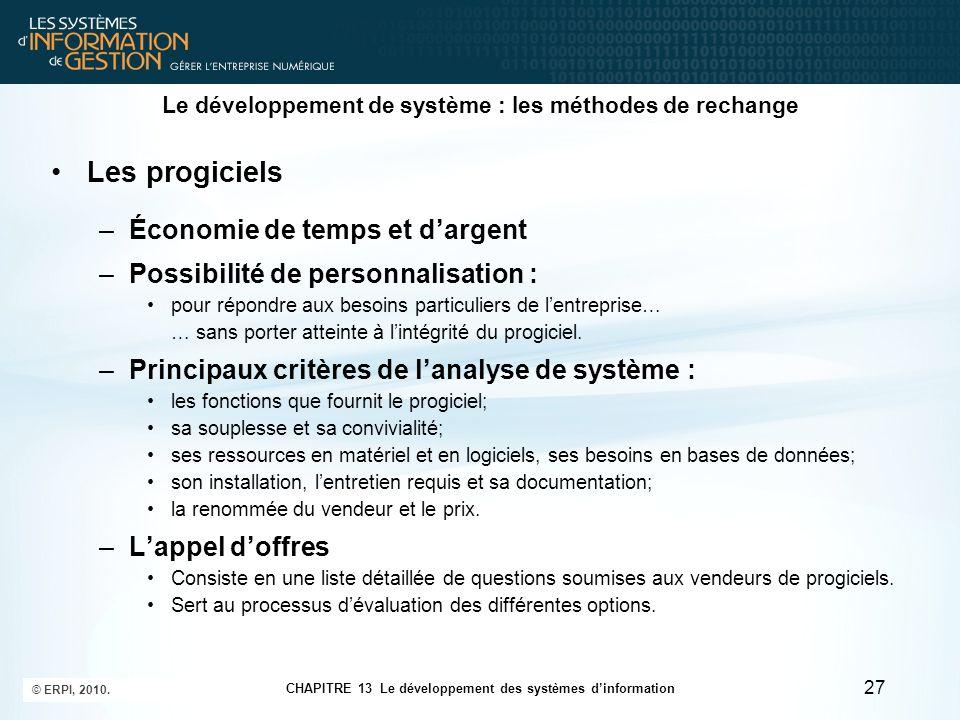 CHAPITRE 13 Le développement des systèmes d'information © ERPI, 2010. 27 Le développement de système : les méthodes de rechange Les progiciels –Économ
