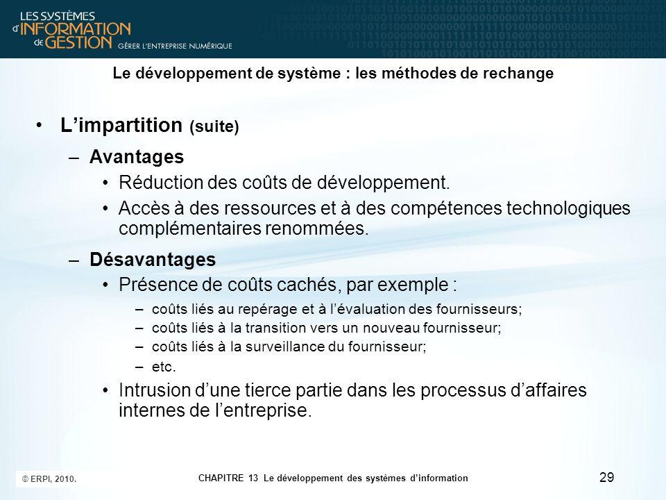CHAPITRE 13 Le développement des systèmes d'information © ERPI, 2010. 29 Le développement de système : les méthodes de rechange L'impartition (suite)