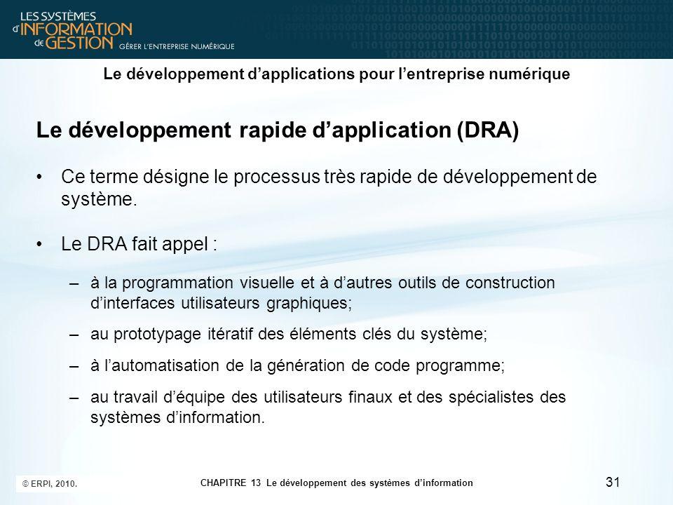 CHAPITRE 13 Le développement des systèmes d'information © ERPI, 2010. 31 Le développement d'applications pour l'entreprise numérique Le développement