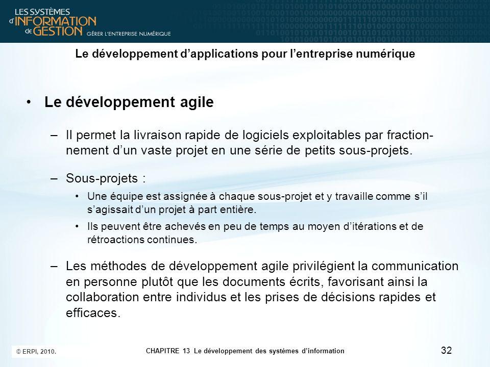 CHAPITRE 13 Le développement des systèmes d'information © ERPI, 2010. 32 Le développement d'applications pour l'entreprise numérique Le développement