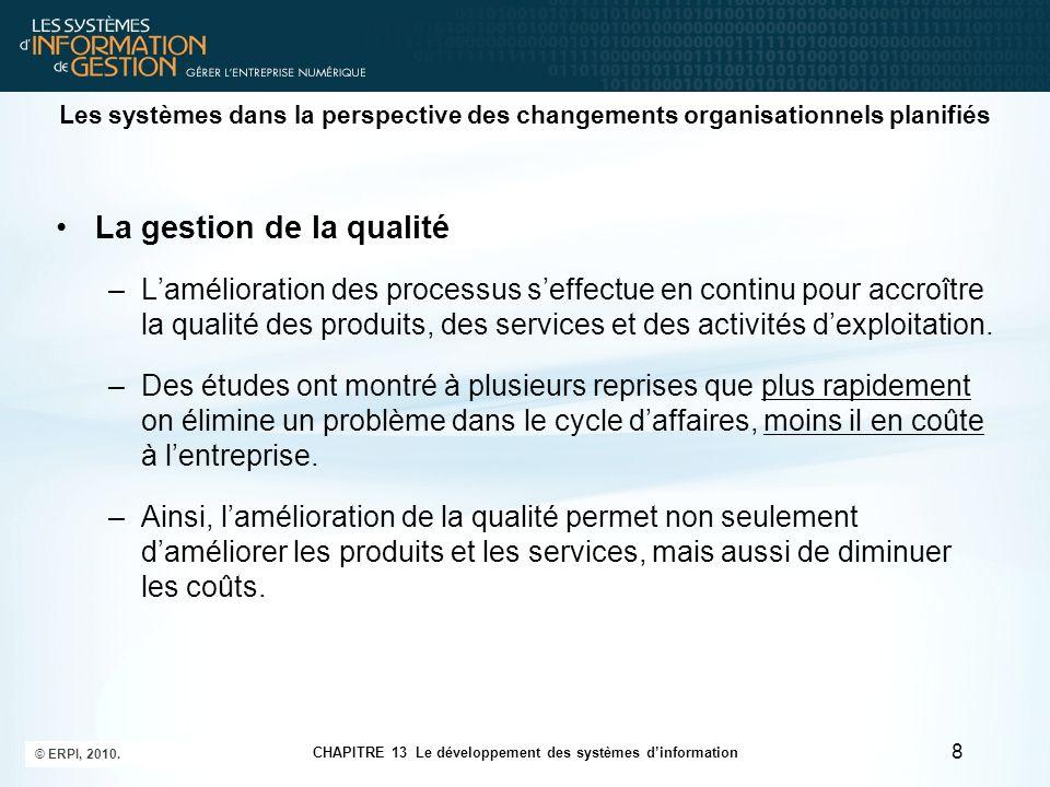 CHAPITRE 13 Le développement des systèmes d'information © ERPI, 2010. 8 Les systèmes dans la perspective des changements organisationnels planifiés La