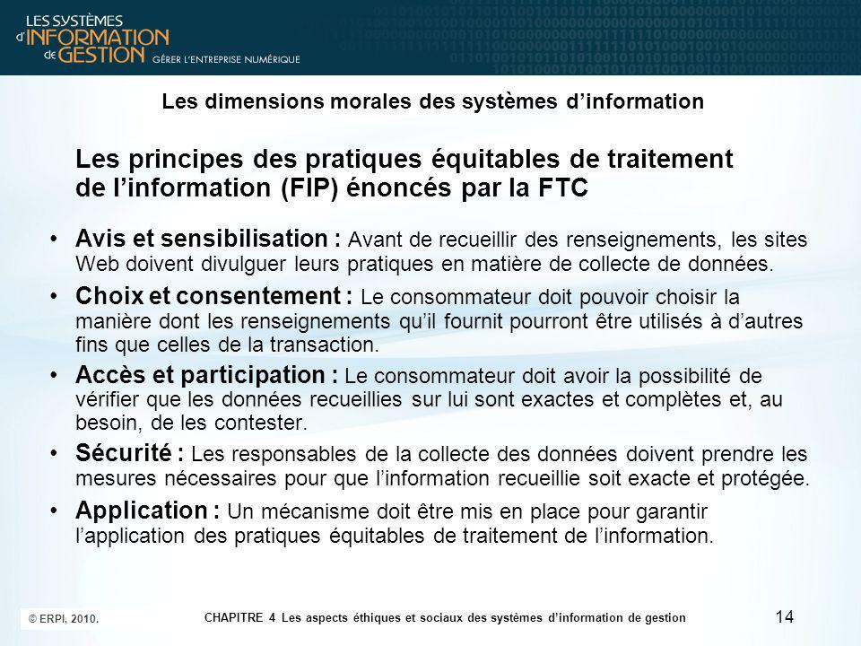 Les dimensions morales des systèmes d'information La directive européenne sur la protection des données Les entreprises doivent informer les intéressés lorsqu'elles recueillent des informations sur eux et leur révéler la manière dont elles vont les conserver et les utiliser.