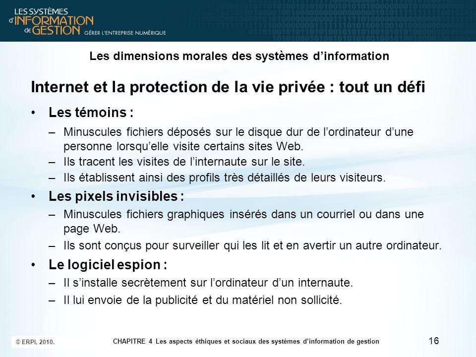 Les dimensions morales des systèmes d'information 17 © ERPI, 2010.