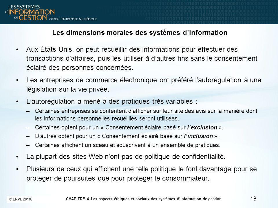 Les dimensions morales des systèmes d'information 19 © ERPI, 2010.