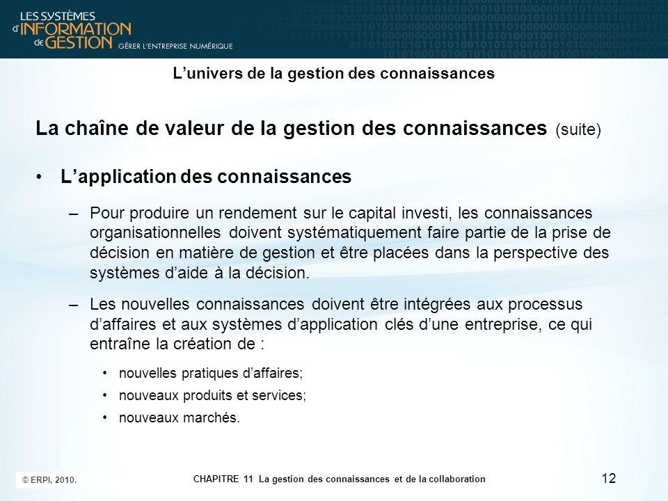 CHAPITRE 11 La gestion des connaissances et de la collaboration © ERPI, 2010. 12 L'univers de la gestion des connaissances La chaîne de valeur de la g