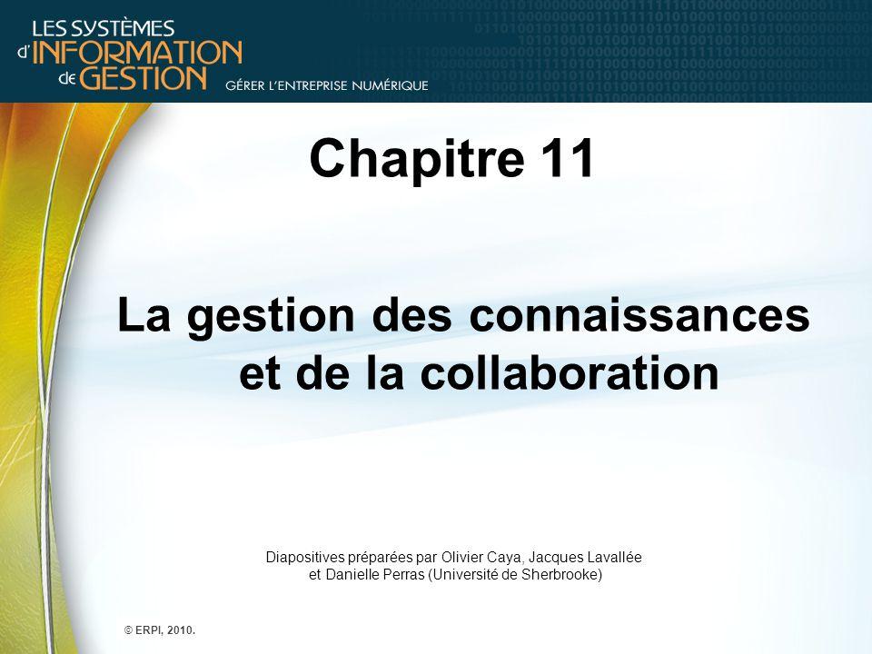 Chapitre 11 La gestion des connaissances et de la collaboration Diapositives préparées par Olivier Caya, Jacques Lavallée et Danielle Perras (Universi