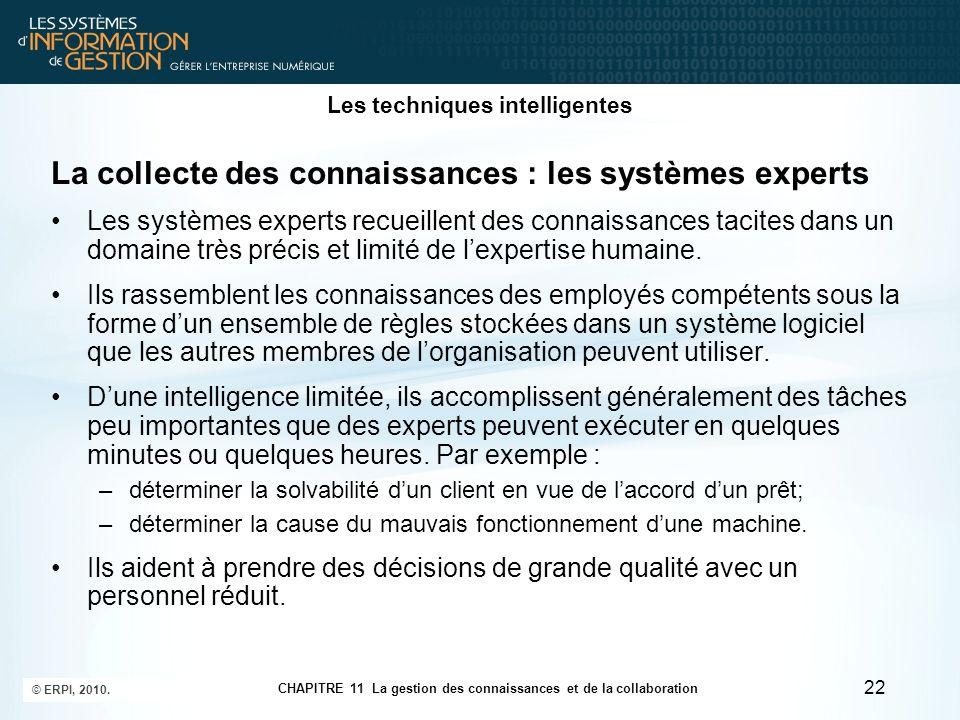 CHAPITRE 11 La gestion des connaissances et de la collaboration © ERPI, 2010. 22 Les techniques intelligentes La collecte des connaissances : les syst