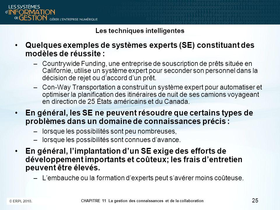 CHAPITRE 11 La gestion des connaissances et de la collaboration © ERPI, 2010. 25 Les techniques intelligentes Quelques exemples de systèmes experts (S