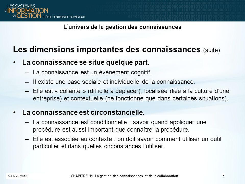 CHAPITRE 11 La gestion des connaissances et de la collaboration © ERPI, 2010. 7 L'univers de la gestion des connaissances Les dimensions importantes d