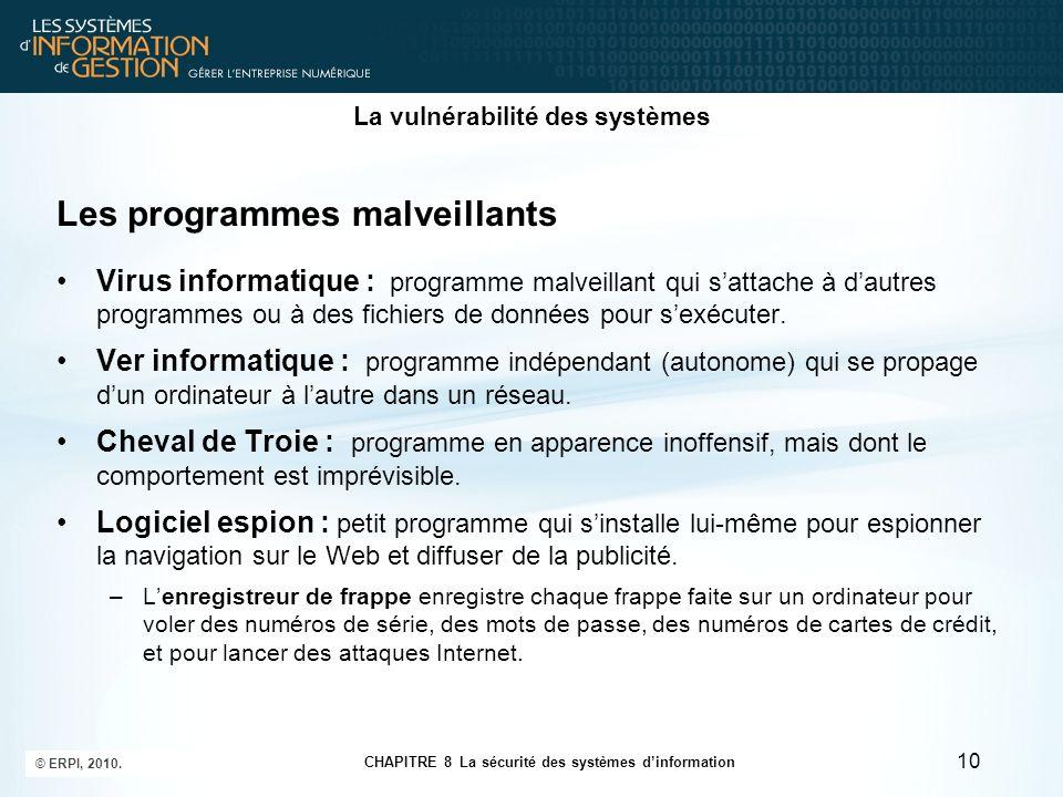 CHAPITRE 8 La sécurité des systèmes d'information © ERPI, 2010. 10 La vulnérabilité des systèmes Les programmes malveillants Virus informatique : prog