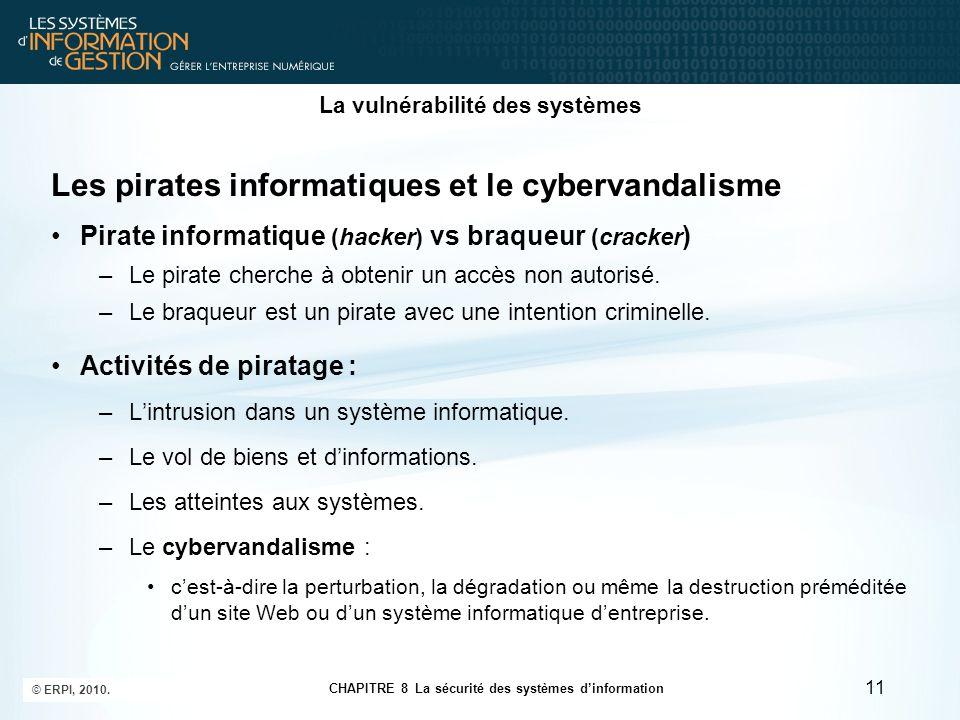 CHAPITRE 8 La sécurité des systèmes d'information © ERPI, 2010. 11 La vulnérabilité des systèmes Les pirates informatiques et le cybervandalisme Pirat