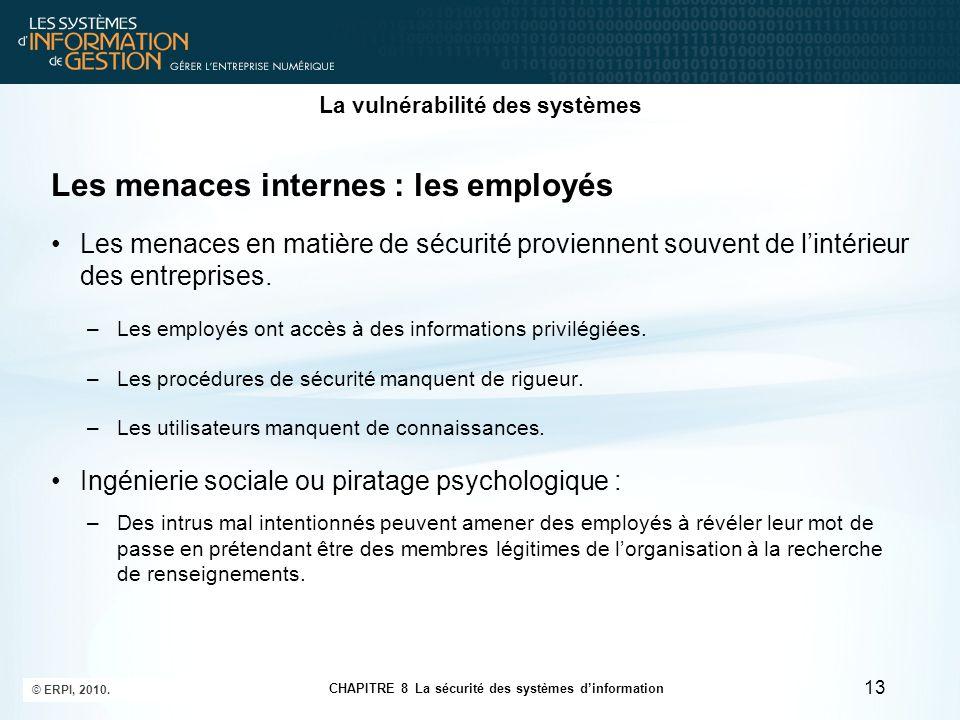 CHAPITRE 8 La sécurité des systèmes d'information © ERPI, 2010. 13 La vulnérabilité des systèmes Les menaces internes : les employés Les menaces en ma