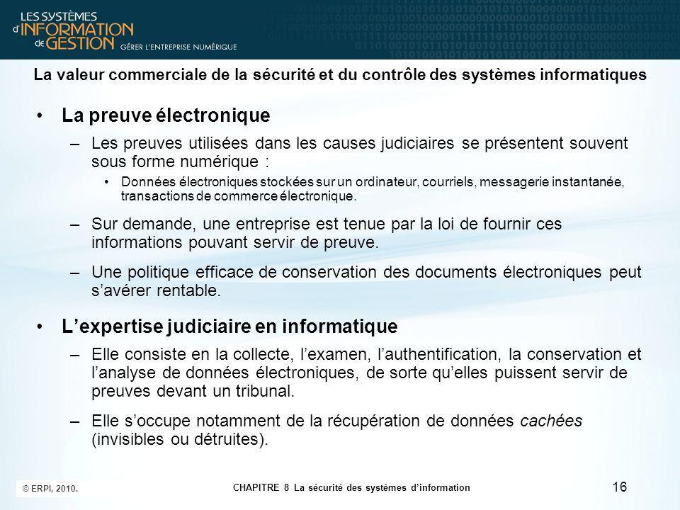 CHAPITRE 8 La sécurité des systèmes d'information © ERPI, 2010. 16 La valeur commerciale de la sécurité et du contrôle des systèmes informatiques La p